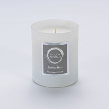 Taylor Benfield Summer Haze luxury scented home candle beautifully packaged in white matte glass.