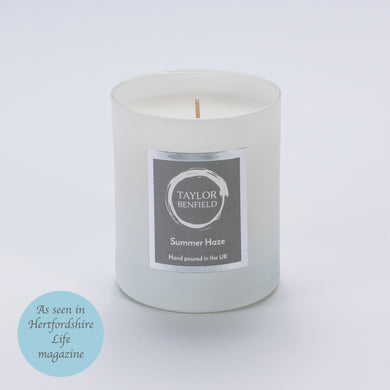 Taylor Benfield Luxury scented Summer Haze candle in white as seen in Wedding Ideas Magazine