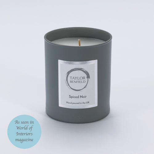 Taylor Benfield Luxury scented Spiced Noir candle in grey as seen in World of Interiors Magazine
