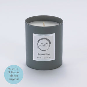 Taylor Benfield Luxury scented Summer Haze candle in grey as seen in A Place in the Sun Magazine