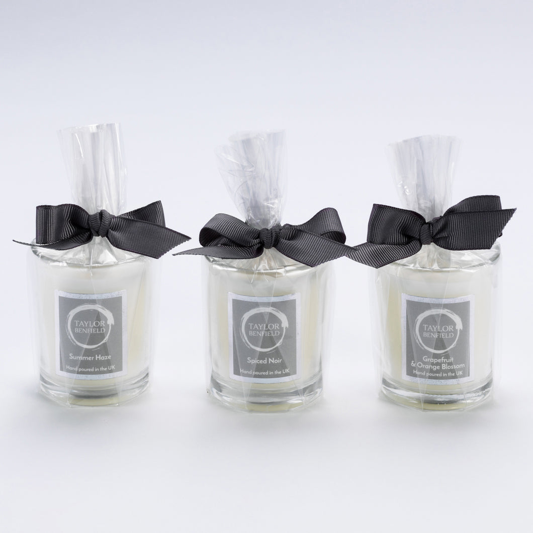 Taylor Benfield luxury scented travel candles - trio set - Summer Haze, Spiced Noir and Grapefruit & Orange Blossom