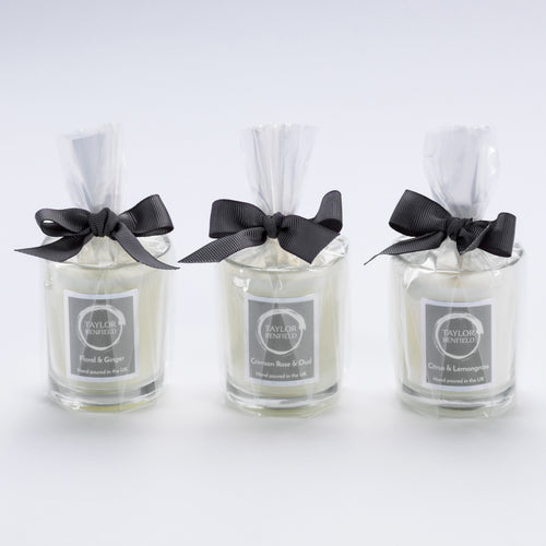 Taylor Benfield luxury scented travel candles - trio set - Floral & Ginger, Crimson Rose & Oud and Citrus & Lemongrass