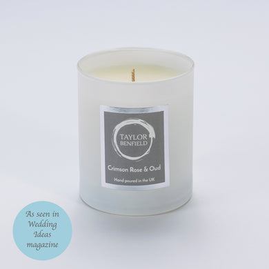 Taylor Benfield Luxury scented Crimson Rose & Oud candle in white as seen in Wedding Ideas Magazine