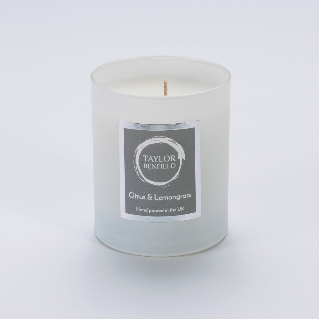 Taylor Benfield Citrus & Lemongrass luxury scented home candle beautifully packaged in white matte glass.