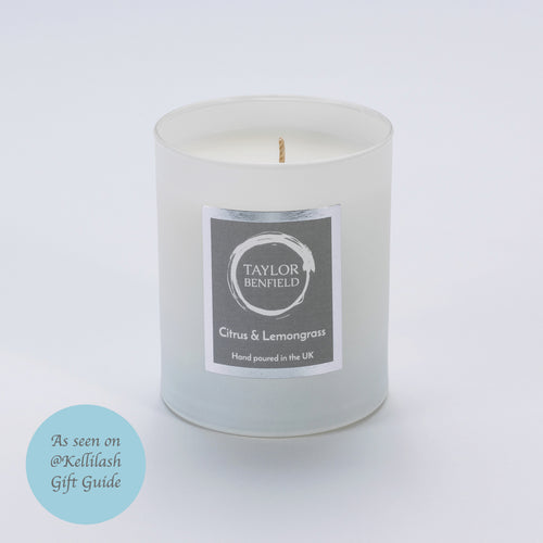 Taylor Benfield Luxury scented Citrus & Lemongrass candle in white as seen on @Kellilash Christmas Gift Guide
