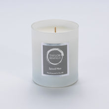 Taylor Benfield Spiced Noir luxury scented home candle beautifully packaged in white matte glass.