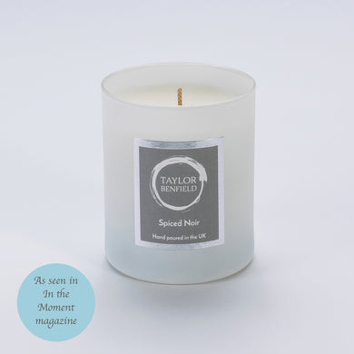 Taylor Benfield Luxury scented Spiced Noir home candle in white as seen in In the Moment Magazine
