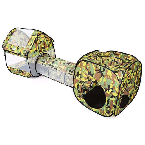 Army Green Camouflage Play Tent with Tunnel and Ball Pit | Kid Play Tents