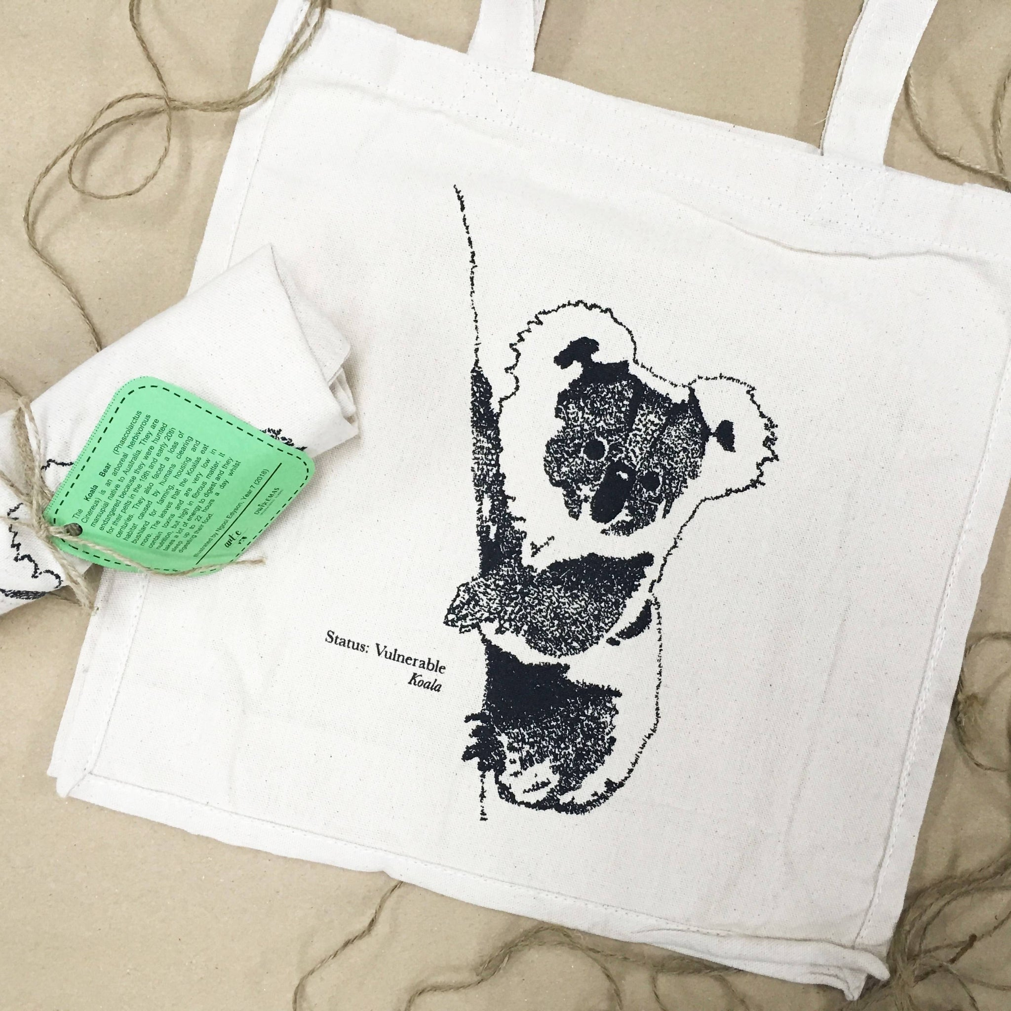 Koala Handwritten Portrait Tote Bag