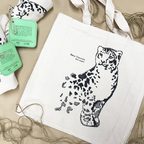 Snow Leopard Handwritten Portrait Tote Bag