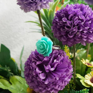 Glitter Teal Rose Adjustable Ring