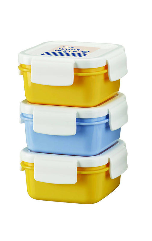 Komax Lunchmate Diet Lunch Box Set Bento Mini 3 Pcs/Tier with Bag Yellow / Navy