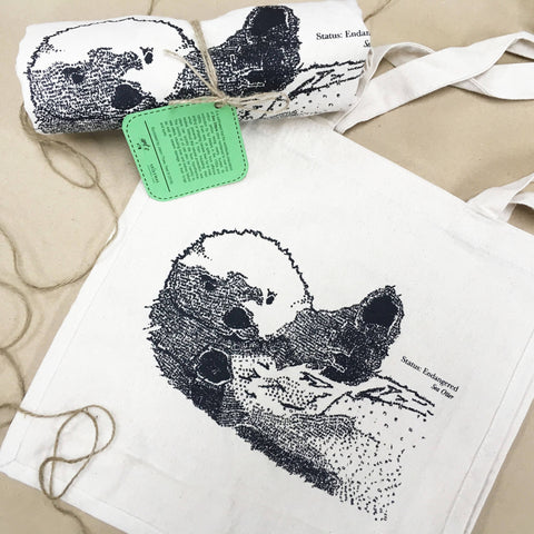 Sea Otter Handwritten Portrait Tote Bag