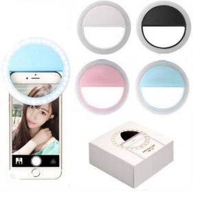 Selfie Ring USB Rechargeable Portable Clip LED 3 Modes Light Camera Mobile Phone