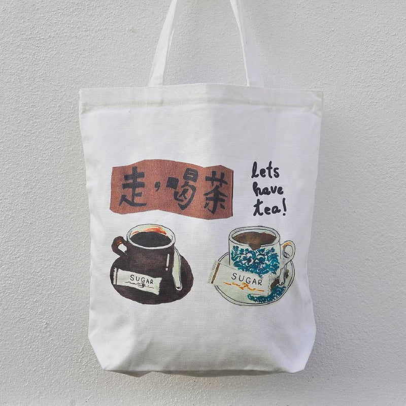 Let's Have Tea Canvas Totebag (L Portrait)