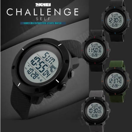SKmei 1213 Chronograph 2 Time Zone Digital Mens Sports Watch