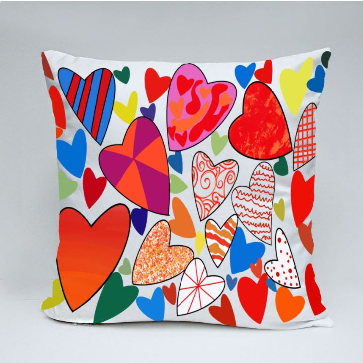 Hearts Galore Throw Pillow by Jung Si On (12 y/o)