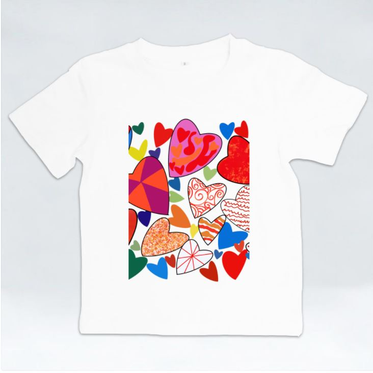 Hearts Galore Kids Tshirt by Jung Si On (12 y/o)