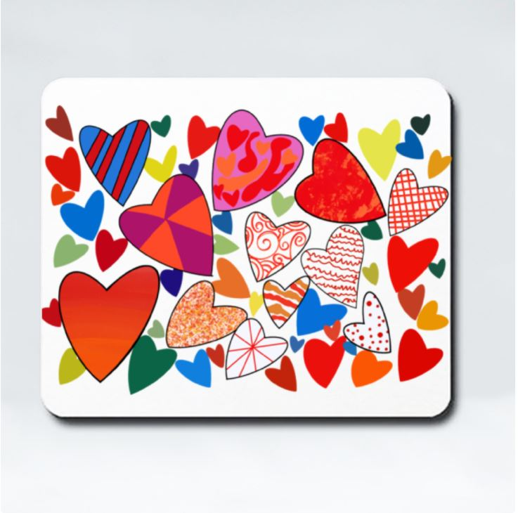 Hearts Galore Mousepad by Jung Si On (12 y/o)