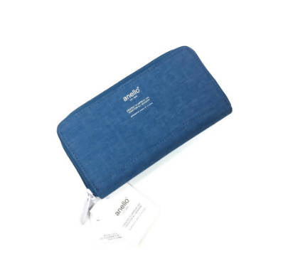 Original Anello High Density Heat Proof Polyester Round Zip Long Wallet Blue