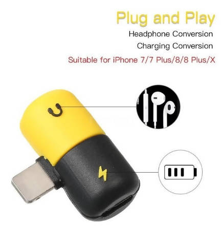 2 In 1 Lightning Audio Jack USB Charger Splitter Adapter IPhone 7 7+ 8 8+ Plus X