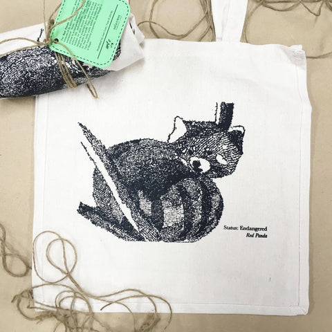 Red Panda Handwritten Portrait Tote Bag