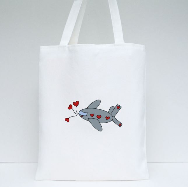 Valentine Plane Tote by Ahmad Yezriq (7 y/o - design on both sides)