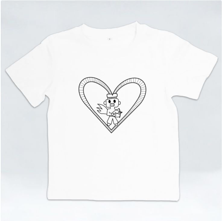 Robot Heart Kids Tshirt by Harith (12 y/o)