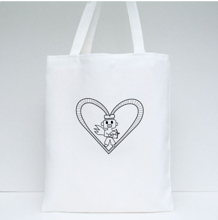 Robot Heart Tote Bag by Harith (12 y/o - design on both sides)