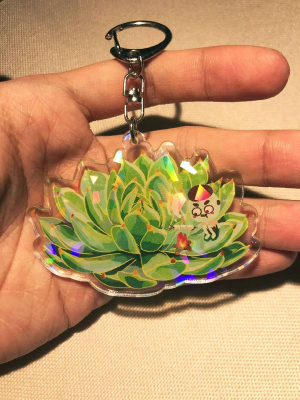 Chihuahuaensis Succulent Holographic Keychain
