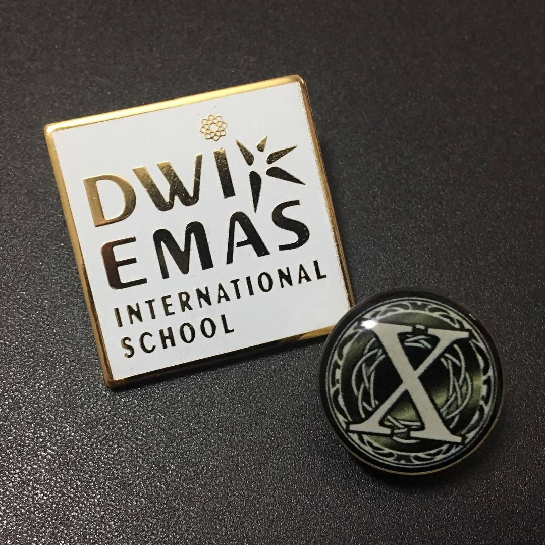 Dwi Emas International School Logo and Young Entrepreneur X Factor Collectible Pin Set