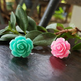 Glitter Pink Rose Adjustable Ring
