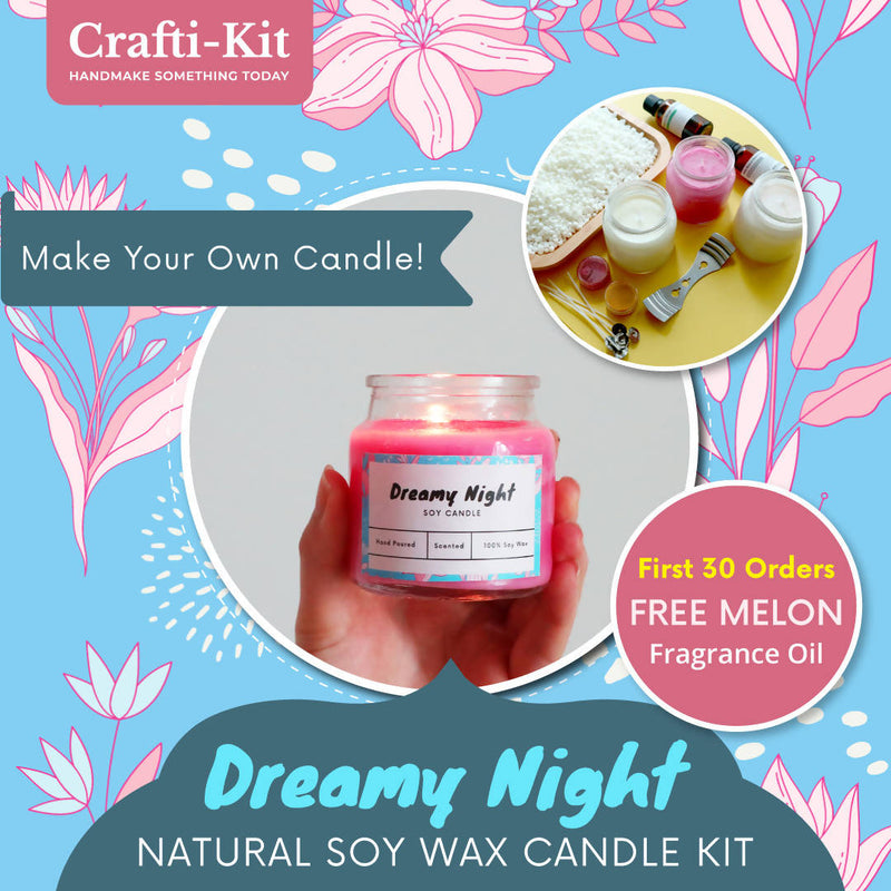 Crafti-Kit – Dreamy Night Natural Soy Wax Candle Kit (Free Shipping)