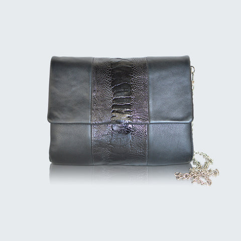 CONVERTIBLE CLUTCH - BLACK NICKY TRIM