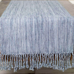 JASPE WAVE TABLE RUNNER - DENIM, BONE & NAVY BLUE