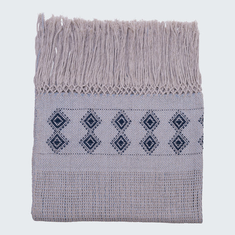 RABINAL THROW - BONE & NAVY BLUE