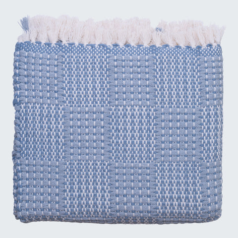 SANTA MARIA SQUARES THROW - DENIM & BONE