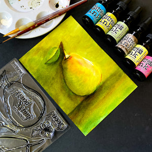 Painting a Pear with Distress Ink Reinkers