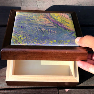 Walnut-stained Hinged Box for Keepsakes