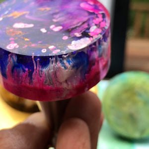 Handcrafted Bottle Stopper: Purple and Pink