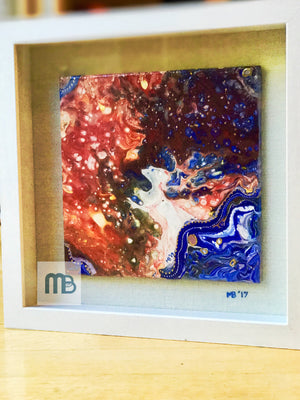 9X9 framed painting on ceramic tile: Night Embers