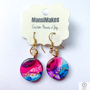 Handpainted earrings: Pink and Blue