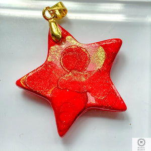 Ceramic Star Pendant: Scarlet Fever