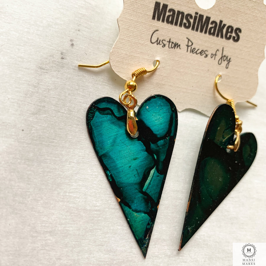 Copper heart earrings — Teal