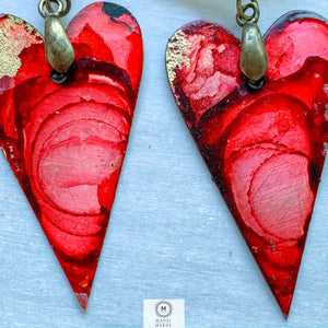 Copper heart earrings — red