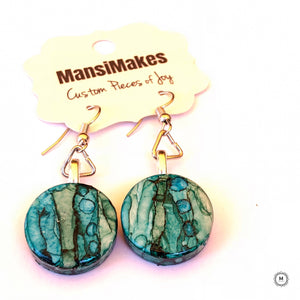 Handpainted earrings: Of Blues and Greens