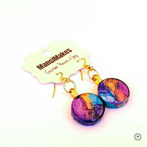 Handpainted earrings: Purple Rain