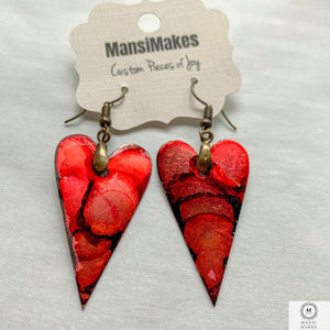 Copper heart earrings — Crimson