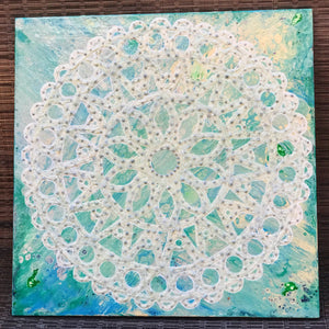 12X12 Hand-painted Ceramic Tile in a 15x15 frame: Zen