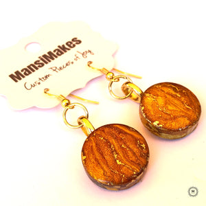 Handpainted earrings: Royal Gold